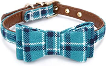 StrawberryEC Extra Small Dog and Cat Collar with Cute Plaid Bowtie. Adjustable 5 Holes to Also Fit Puppy and Kitten. Quality PU Leather and Durable Polyester