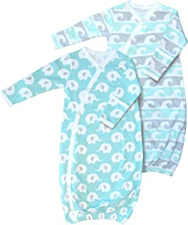 Cambria Baby 100% Organic Cotton Kimono Gowns, Easy Change with Built in Mitts (0-3 Mo, 2 Pk Elephant and Waves)