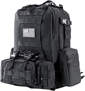 Z ZTDM Outdoor Tactical Backpack, Large 50L Weekend 3-Day Pack, Molle, USA Flag