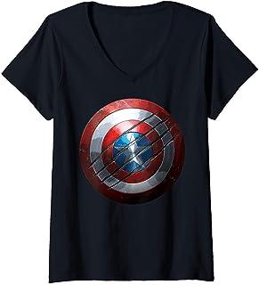 Femme Marvel Captain America Shield T-Shirt avec Col en V