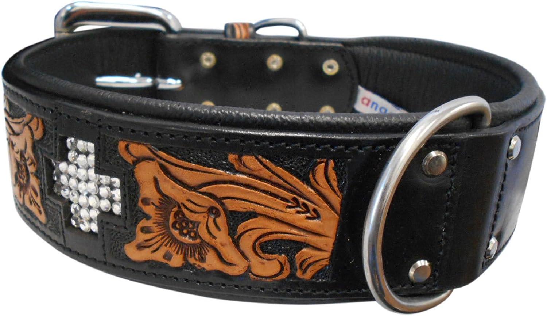Angel Pet Supplies 11086 Leather EL DORADO Collar, 26  x 2 , Midnight Black