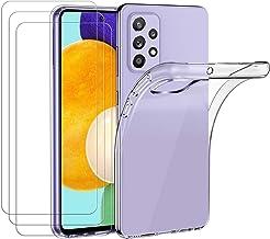 ivoler Coque pour Samsung Galaxy A52 4G / 5G, avec Lot de 3 Protection Écran en Verre Trempé, Transparent Étui de Protection en Silicone Antichoc, Mince Souple TPU Bumper Housse