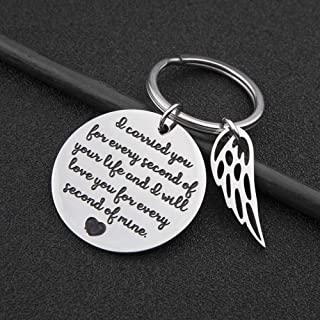 Memorial Gift Remembrance Keychain Loss of Baby Infant Child Miscarriage Keepsake I Carried You Every Second of Your Life and I Will Love You Every Second of Mine Charm Pedant Jewelry Sympathy Gifts