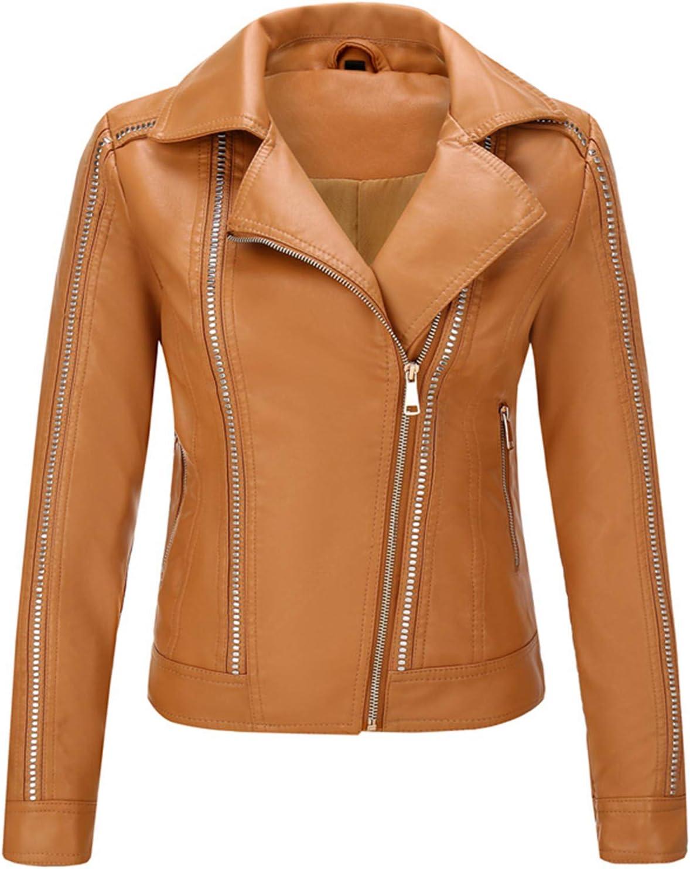 Women's Black Faux Leather Jacket Moto Biker Short Coat PU Jacket for Motorcycle Leather Coats for Women H6
