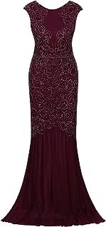 Vijiv 1920s Inspired Gatsby V Back Art Deco Beaded Maxi Evening Long Prom Dress
