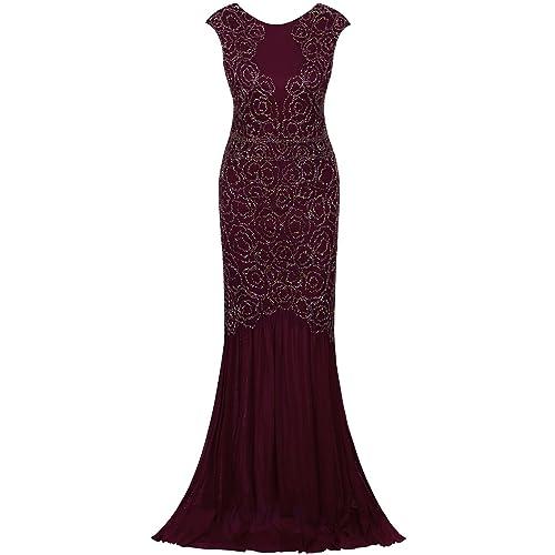 0eb4754d46d0 Vijiv 1920s Long Prom Dresses V Neck Beaded Sequin Gatsby Maxi Evening Dress