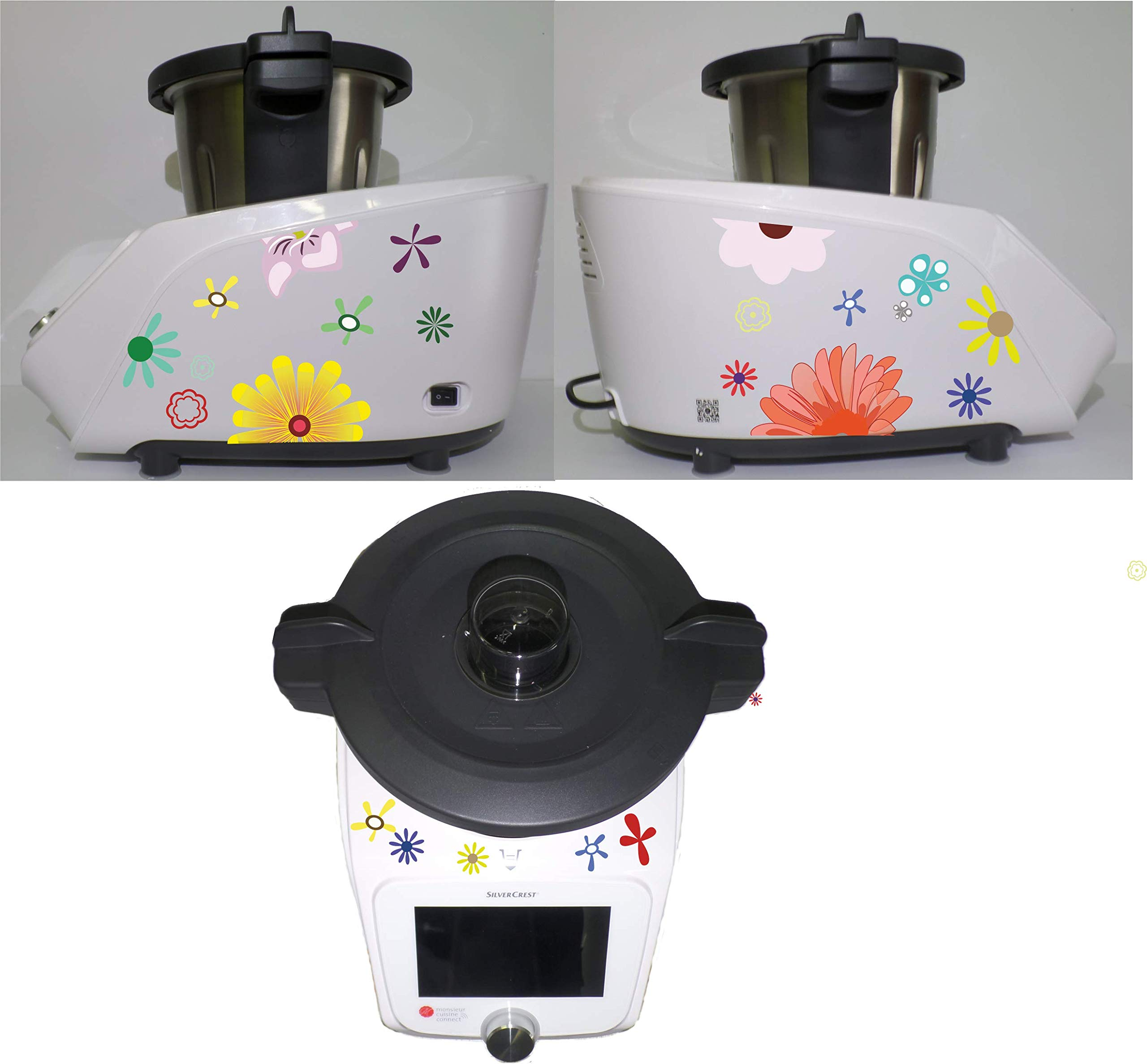 Adhesivo para Monsieur Cuisine Connect, diseño de flores, multicolor: Amazon.es: Hogar