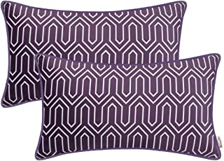 BRAWARM Pack of 2 Cozy Fleece Bolster Pillow Covers Cases for Couch Bed Sofa Manual Hand Painted Print Chevron Geometric with Cording Both Sides 12 X 20 Inches Plum Purple