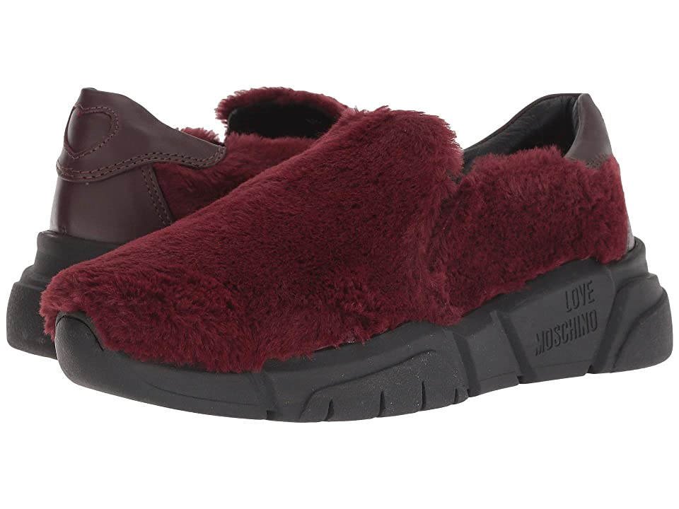 LOVE Moschino Faux Fur Slip-On Sneaker (Burgundy) Women