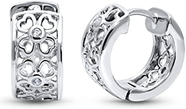 BERRICLE Rhodium Plated Sterling Silver Cubic Zirconia CZ Clover Small Fashion Hoop Huggie Earrings 0.55