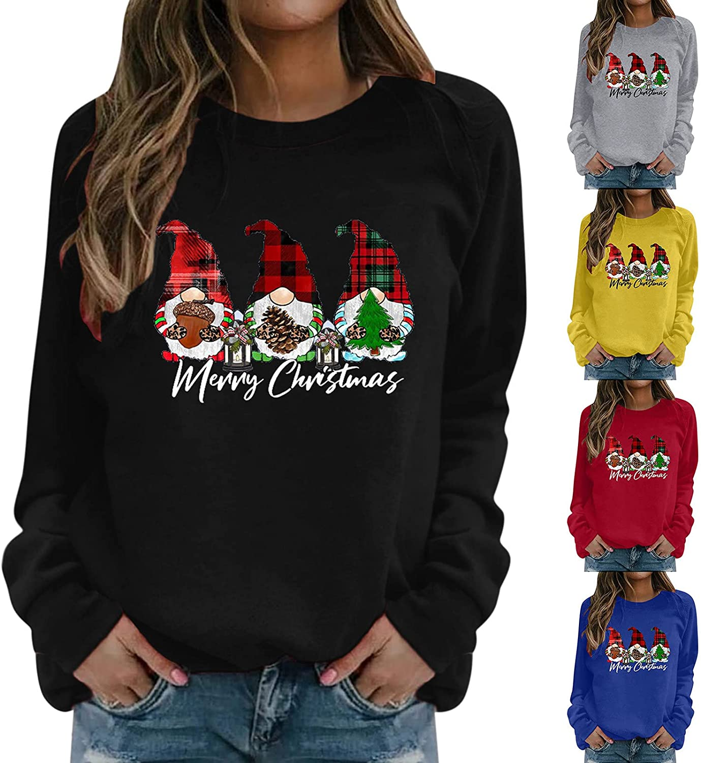 Christmas Gnome Shirts for Women Plus Size Crewneck Pullover Graphic Tshirt Casual Holiday Sweatshirts Fall Tops