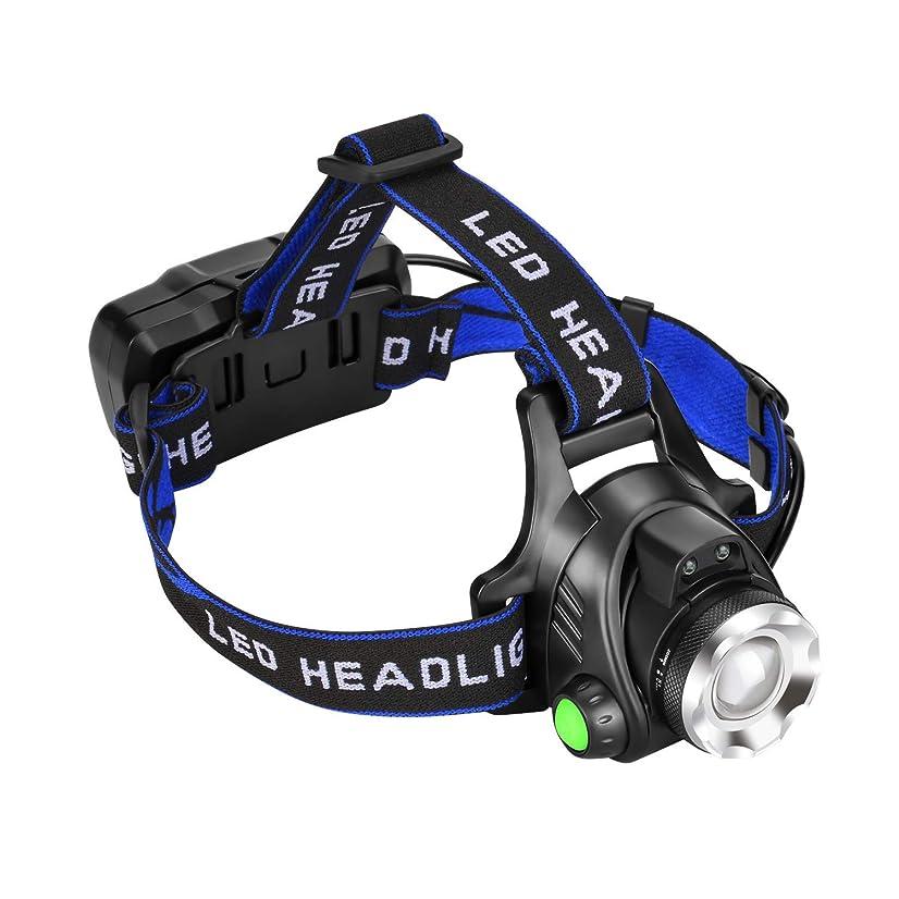 ハッチリズム陸軍ASITA 充電式 ledヘッドライト 高輝度 センサー機能 18650バッテリー2本付属 PSE認証済