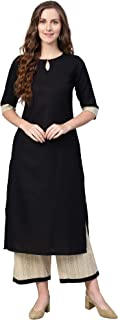 INDO ERA Women's pure cotton Straight kurta set with palazzo (Black)