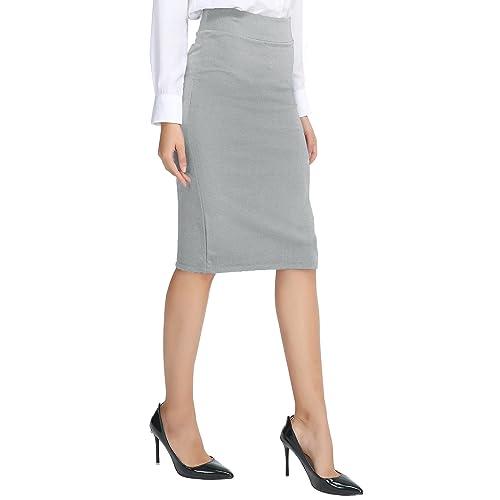 0e839677b Urban CoCo Women's Elastic Waist Stretch Bodycon Midi Pencil Skirt