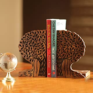 ExclusiveLane Tree of Life Book End in Sheesham Wood - Book Organizer Book Racks Shelf Book Holders Stand Case Book Stoppe...