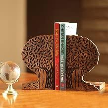 ExclusiveLane Tree of Life Book End in Sheesham Wood -Book Organizer Book Racks Shelf Table Top (10.16 cm x 10.92 cm x 16.51 cm)
