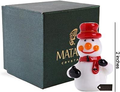 Matashi MT13217 urano Winter Decorative Glass Snowman Figurine, Tabletop Showpiece Centerpiece