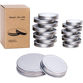 Mason Jar Lids 16 Pack, 8 Wide Mouth and 8 Regular Mouth Mason Jar Lids Leak Proof Jars Lids for Ball, Kerr and More Storage Silver Canning Jar Lids