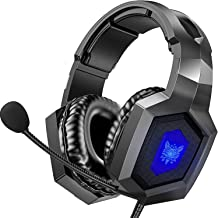 ONIKUMA Gaming Headset for PS5, PS4, PC, Xbox One Headset with 7.1 Surround Sound & Noise Cancelling Mic, RGB LED Light, Over-Ear Headphones Compatible with PS5 PS4 PC Xbox One Laptop Mac