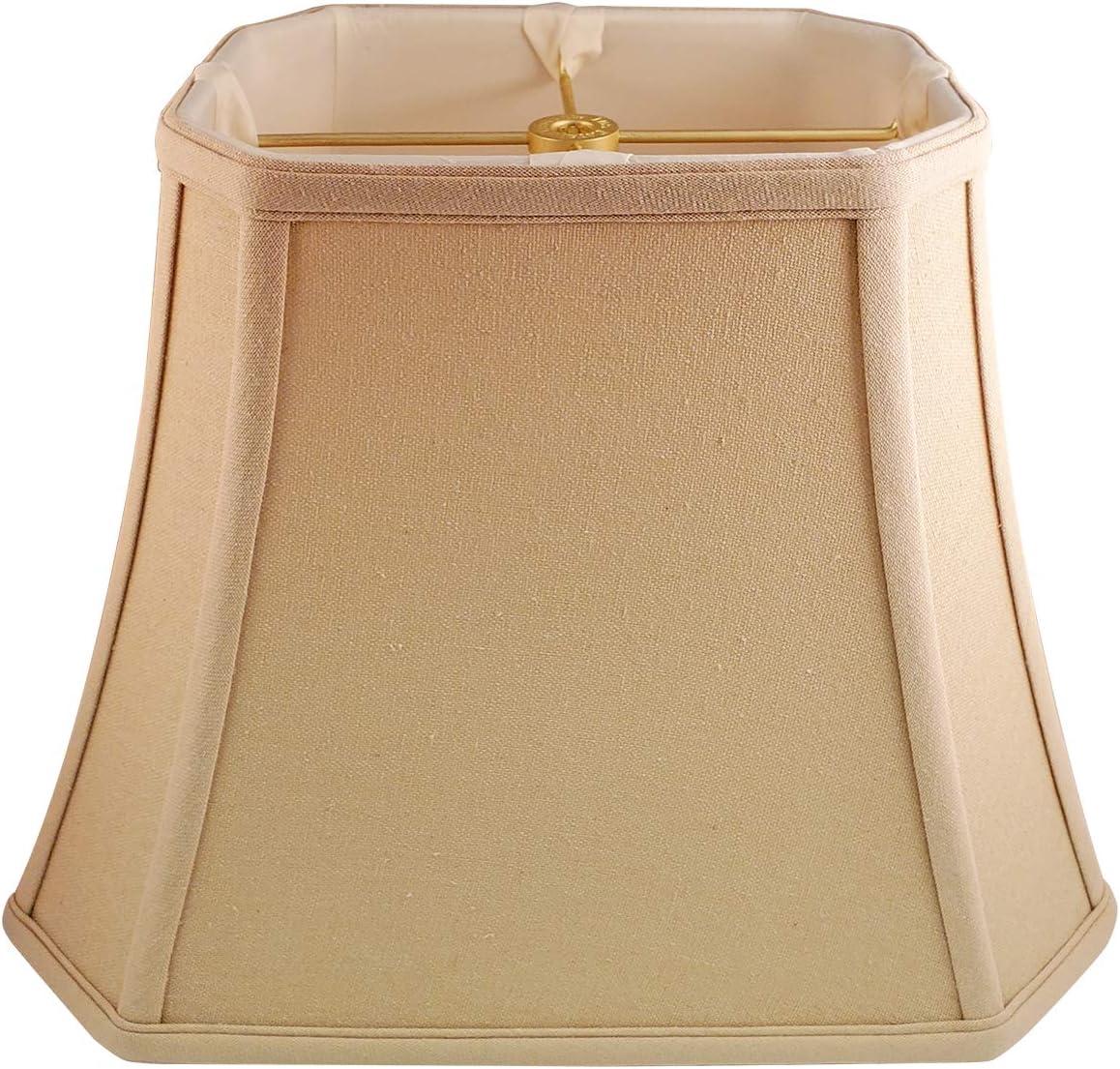 Royal Designs Very popular Rectangle Cut Corner Shade Beige Linen Save money Lamp 5