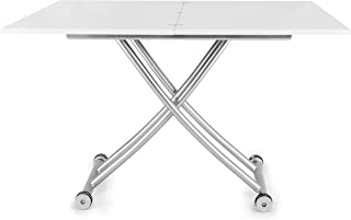 Corner Housewares Modern Multi-Purpose Dining Room Wheeled Transforming Adjustable Expanding X Lift Coffee and Dining Table, White Finish