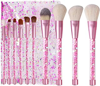 Kingtree Makeup Brushes with Clear Bag, 10PCS Pink Quicksand Sequins Handle Makeup Brush Set Professional Kabuki Foundation Blending Makeup Brush Kit