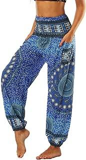 Xixiuly Women's Hippie Harem Yoga Pants with Pockets High Waist Trousers Summer Beach