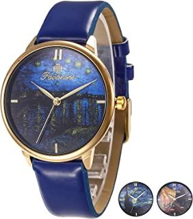 Van Gogh Starry Night Art Wrist Watch Gift,Simple Design Artwork Minimalism Collection Birthday