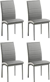Miroytengo Conjunto 4 sillas Meli Comedor Gris Estilo Moderno Salon contemporaneas Cocina Polipiel 92x54x45