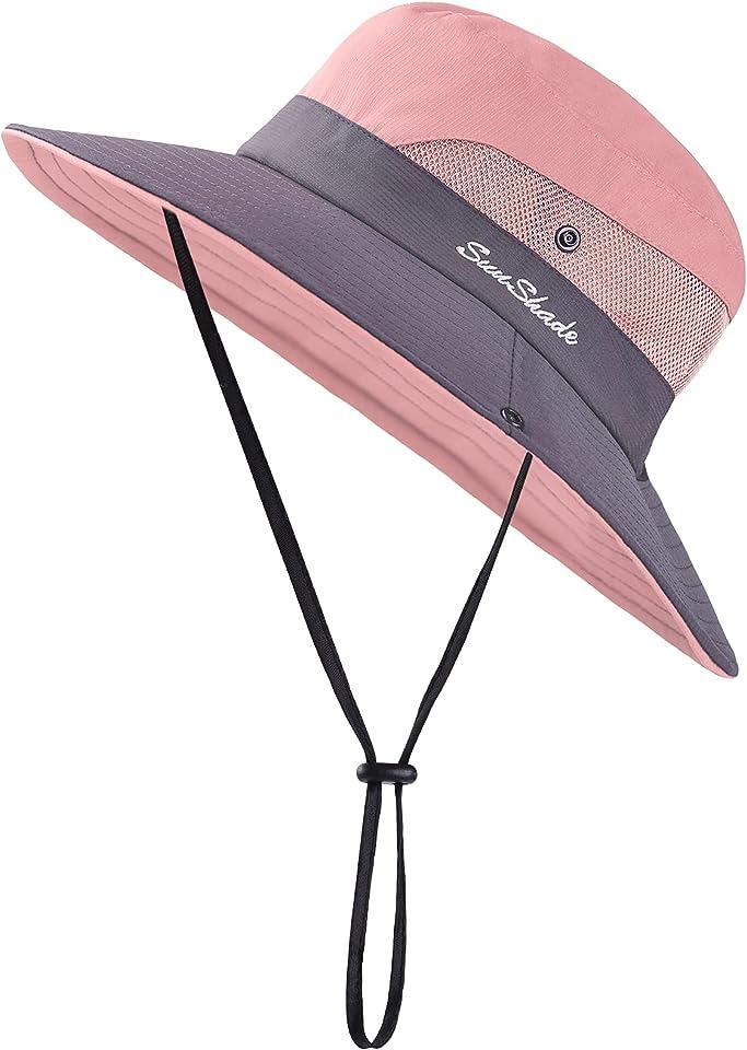 2 Pack Women Summer Sun Hat Ponytail Hole Cap Wide Brim Adjustable Hat