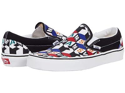 Vans Classic Slip-On ((Checker Cube) Multi/True White) Skate Shoes