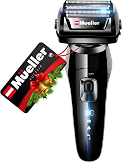 Mueller Austria Electric Razor for Men, 5-Element Cutting System, Wet/Dry, Rechargeable, Precision Trimmer, LED, 40,000 Cr...