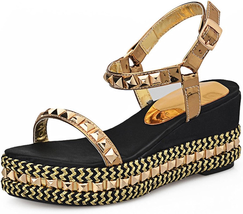 Nine Seven Genuine Leather Women's Open Toe Wedge Heel Handmade Platform Ankle Strap Sandal with Rivets