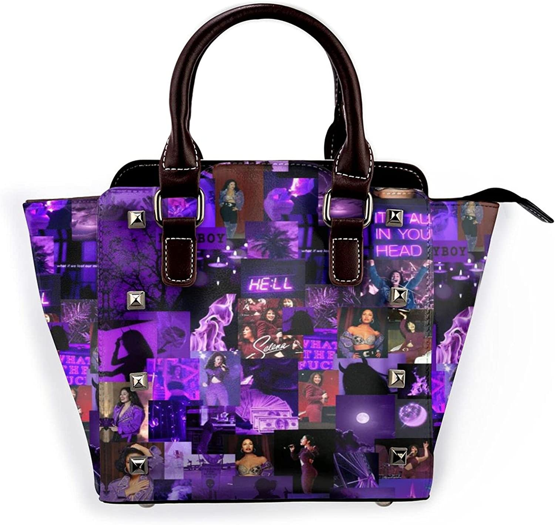 PATRICK Selena Quintanilla Women's Fashionable Leather Handbag Shoulder Tote Bag Leather Rivet Shoulder Bag