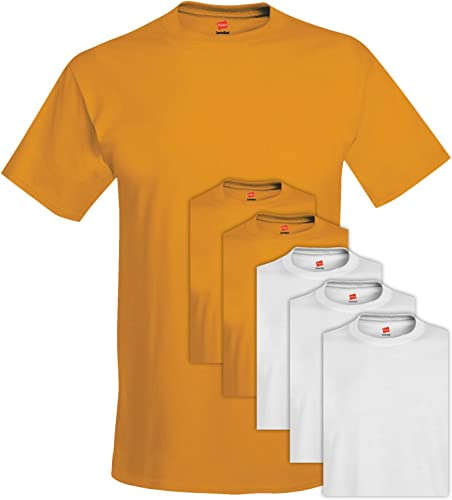 Hanes 5280 Comfortsoft Hommes 's Pack Crew Neck Tee Petit 3 Or + 3 Blanc