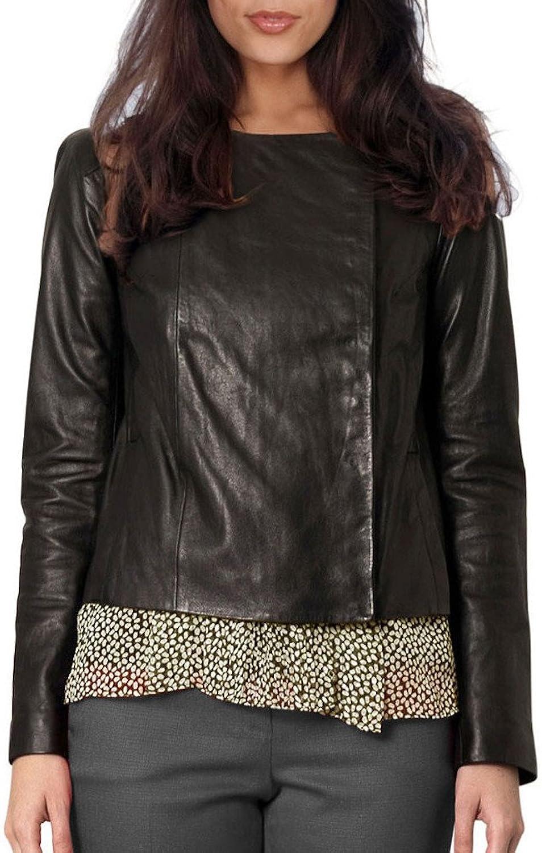 Fadcloset Ladies Sharlene Collarless Leather Jacket