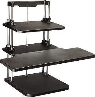 Pyle Sit Stand Desk, Height Adjustable Stand Up Desk, Computer/ Laptop Stand Up Computer Workstation W/2 Adjustable Shelf ...
