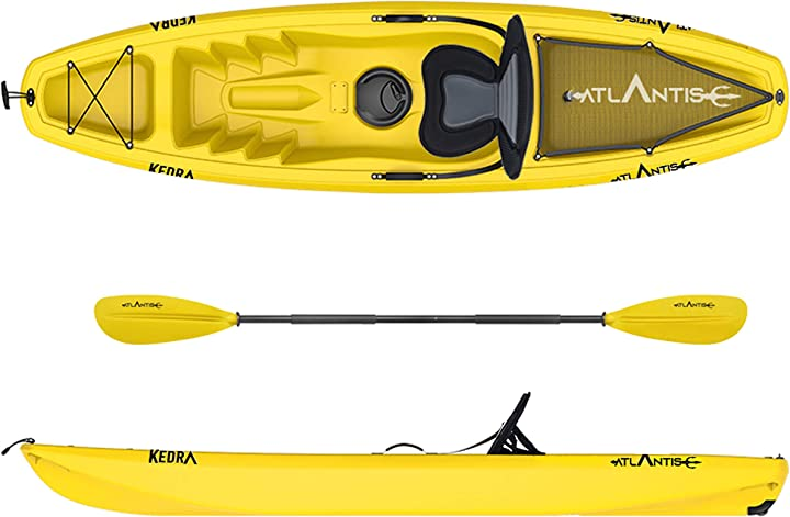 Canoa atlantis kayak-canoa kedra gialla cm 268 - seggiolino - gavone - ruotino - pagaia B08KGXVQTJ