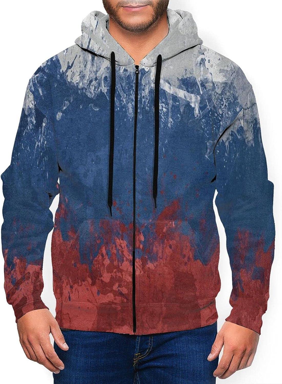 Hello Gorgeous Men'S Hoodie Flag Russia Slim Selling rankings Zip Sales Paint Spots Fit