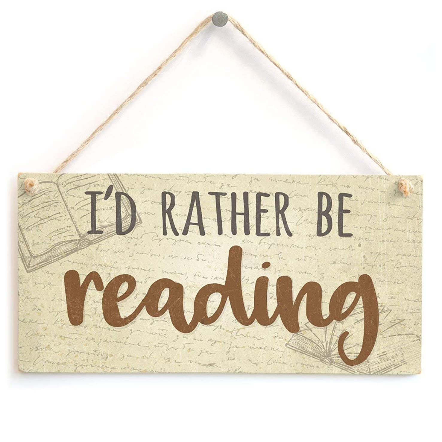 Meijiafei I'd Rather Be Reading - Novelty Book Gift Sign Plaque 10