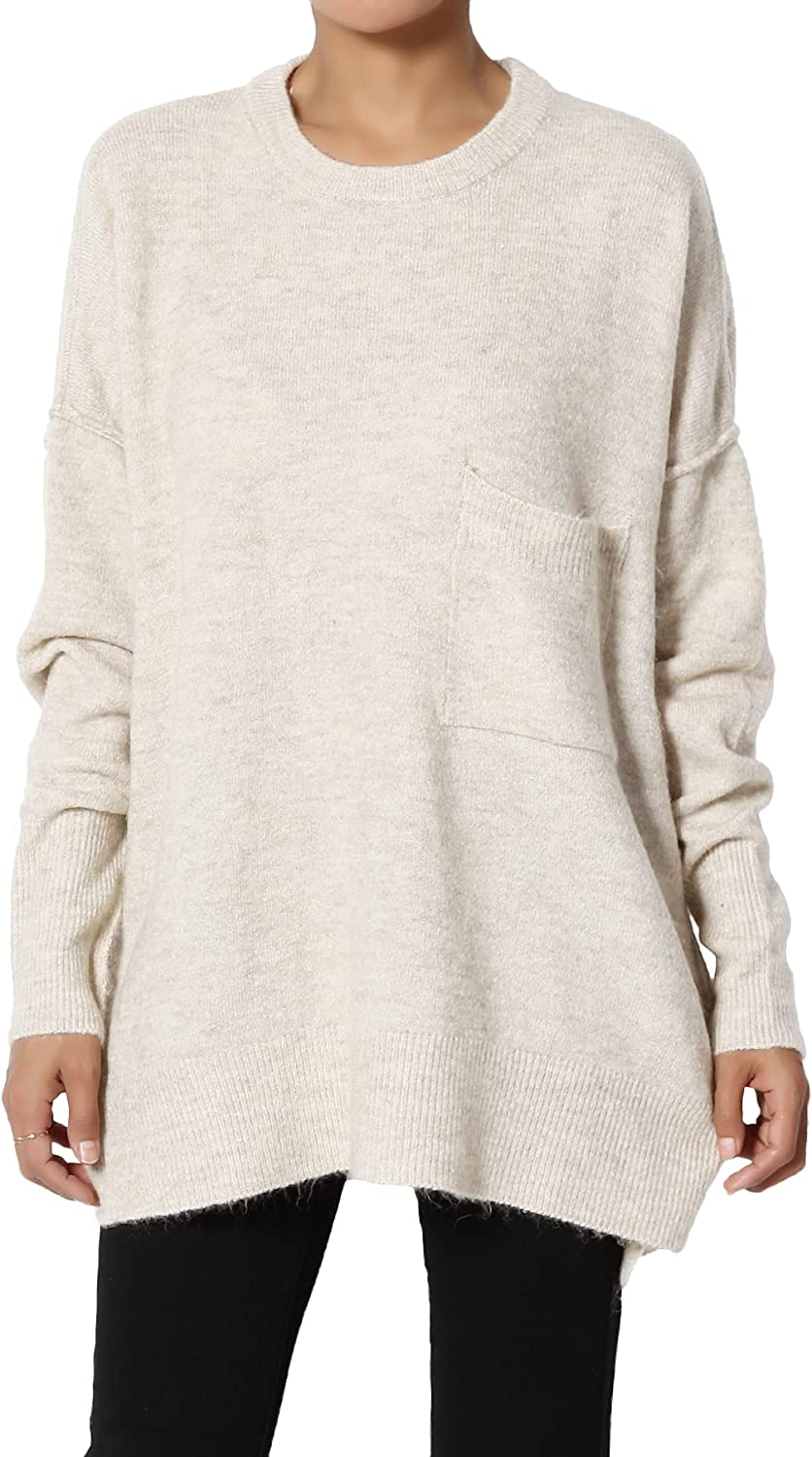 TheMogan XS~3X Loose Chest Pocket Long Sleeve Melange Color Knit Pullover Sweater