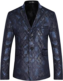 Sportides Men's Casual Slim Fit Feathers Printed Two Button Blazer Jacket Suits JZA137