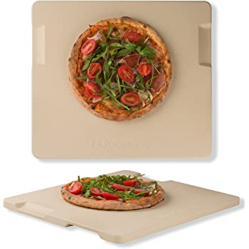"ROCKSHEAT Pizza Stone Baking & Grilling Stone, Perfect for Oven, BBQ and Grill. Innovative Double - Faced Built - in 4 Handles Design (14"" x 16"" x 0.67"" Rectangular)"