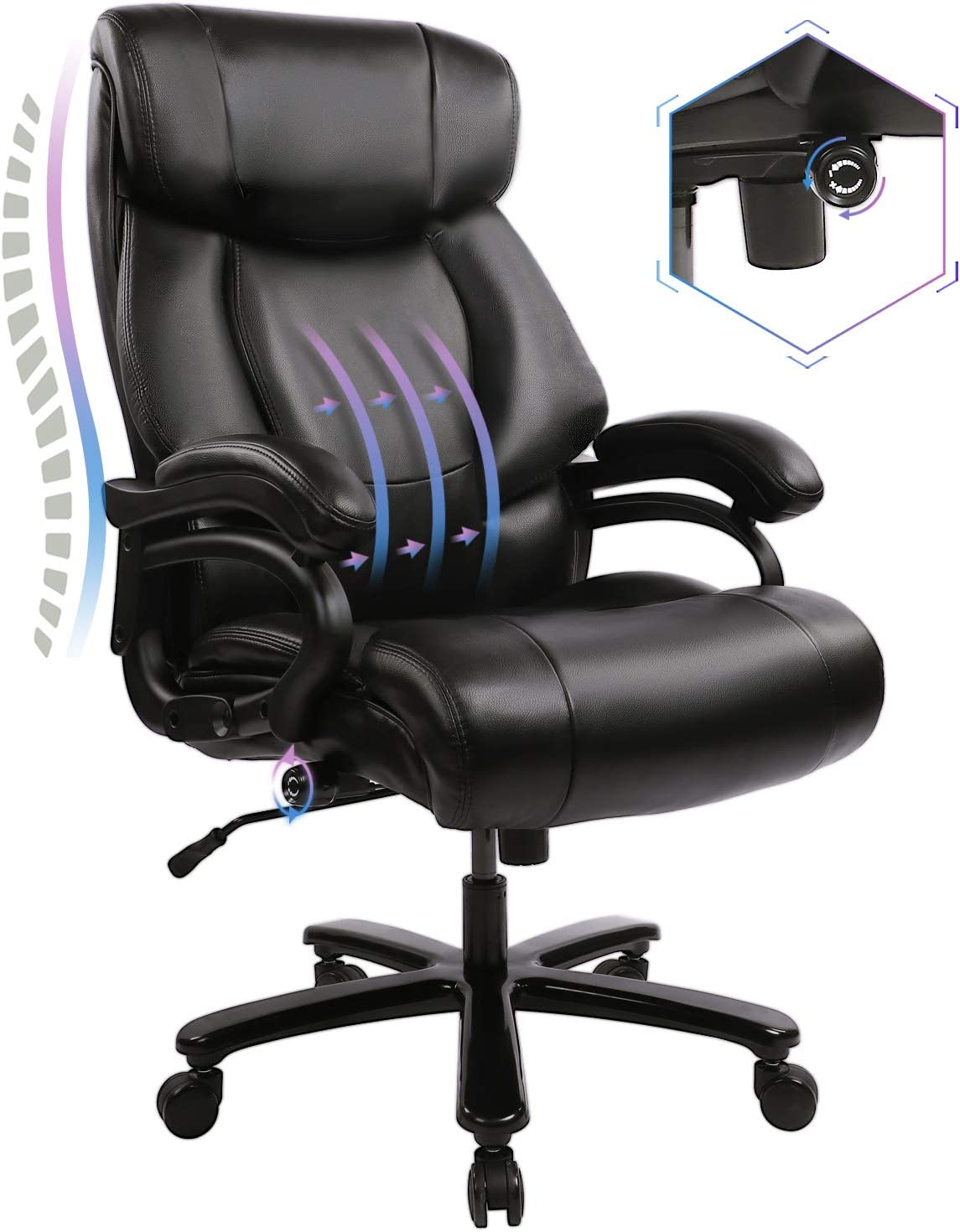 KBEST High Back Big /& Tall 400lb Office Chair Adjustable Built-in Lumbar Support and Tilt Angle Black Heavy Duty Metal Base Large Bonded Leather Ergonomic Executive Desk Computer Swivel Chair