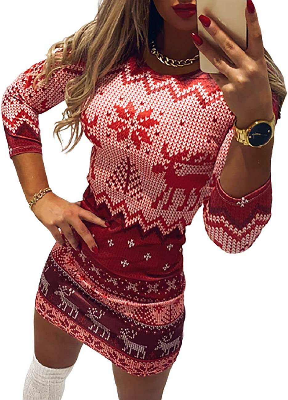 CHICME Women's Christmas Dress Free shipping on posting reviews Moose Sleeve Snowflake Long Surprise price Print