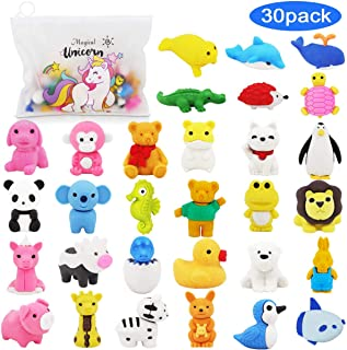 Pencil Erasers Zoo Animal Erasers -30 Pack Puzzle Erasers with Unicorn Pencil Bag Party Favors for Kids, Games Prizes, Carnivals and School Supplies