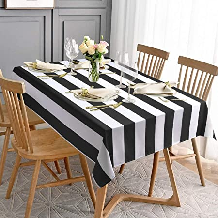 ArtOFabric Decorative Cotton Table Overlay in Black and White Stripped 58x58 Inch