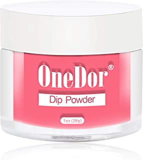 OneDor Nail Dip Dipping Powder – Acrylic Color Pigment Powders Pro Collection System, 1 Oz. (03 - Rose Red)