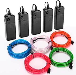 CPPSLEE EL Wire Kit Super Bright Portable Neon Light - 5 Color & 9.8 ft/pc - for Christmas Halloween Party DIY Decoration - 4 Modes Battery Controllers