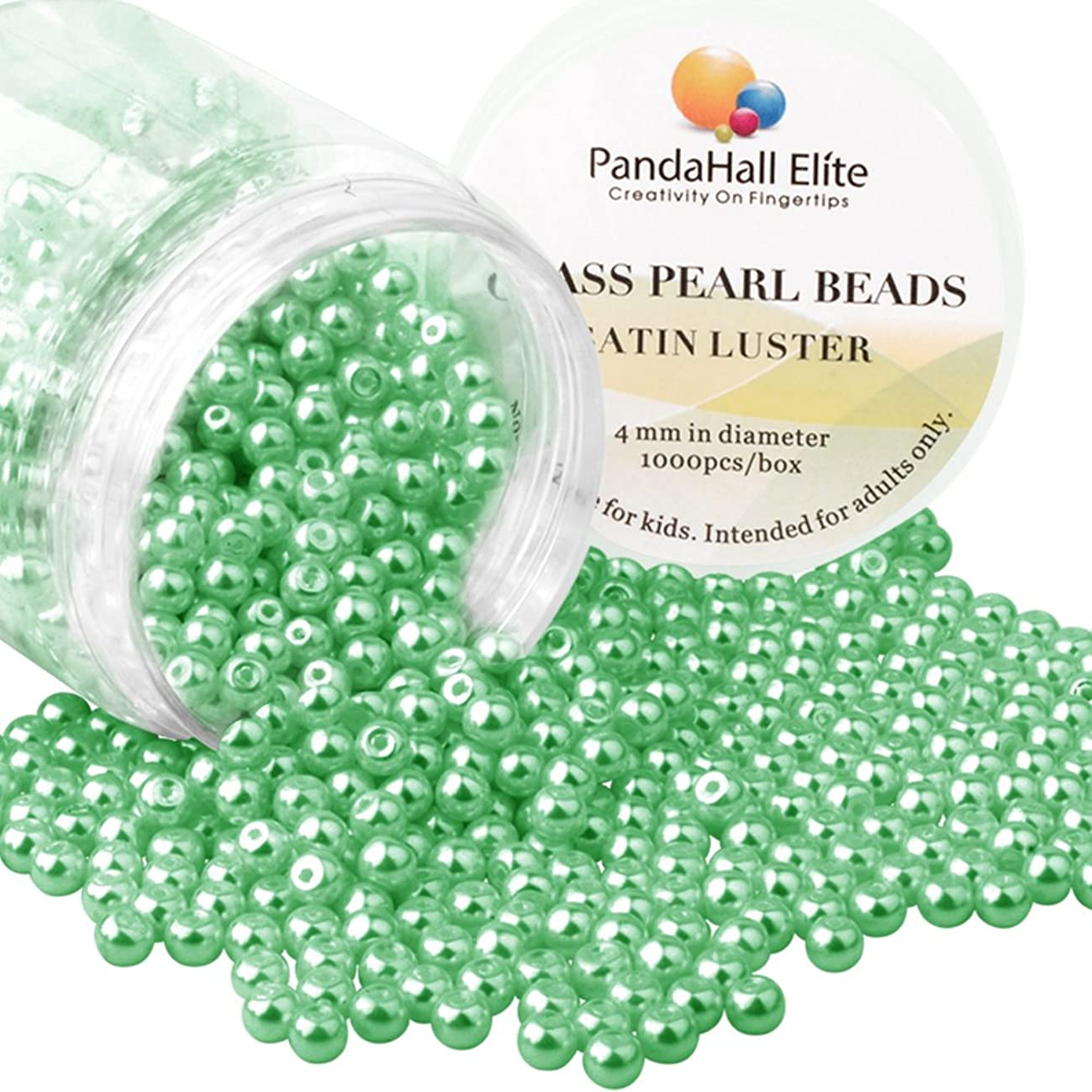 PandaHall Elite About 1000 Pcs 4mm Tiny Satin Luster Glass Pearl Bead Round Loose Spacer Beads for Jewelry Making Green